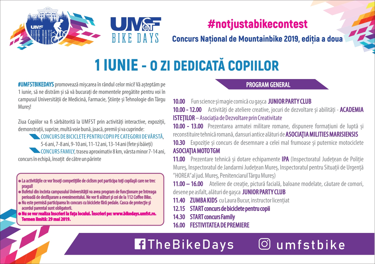 program 1 iunie UMFST Bike Days